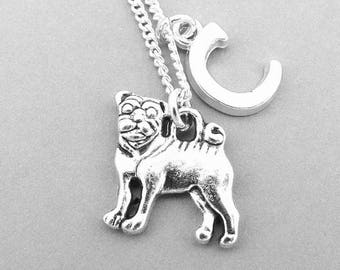 Pug Necklace, Personalised Pug Jewellery, Dog Necklace, Personalised Letter Necklace, Sterling Silver, Pug Gifts