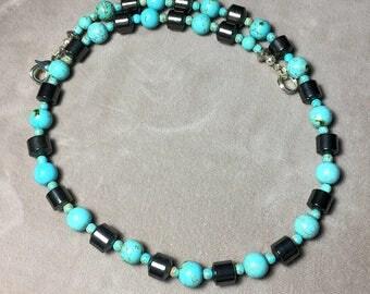 "19"" Turquoise Howlite and Hematite Gemstone Necklace"