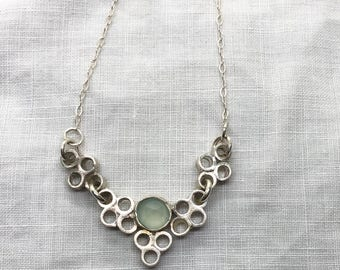 Aqua Green Chalcedony and Silver Circles Necklace