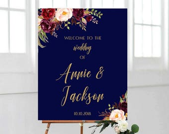 Wedding Welcome Sign Marsala Burgundy Peonies Floral Boho Digital Wedding Reception Sign Bridal Wedding Welcome Poster, Navy & Gold Wedding