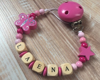 Pacifier clip-pacifier with name Laena wooden beads