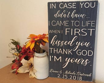 Rustic Wedding Sign • Thank God I'm Yours • Personalized sign with custom quote • Wedding Song on wood • 5th Anniversary Gift • Farmhouse