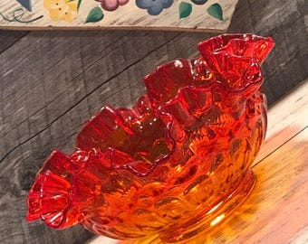 GORGEOUS 1960's Fenton Amberina Colonial Thumbprint Bowl with a Double Ruffle Edge, cabin, cottage, mid century, collectible