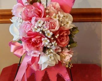 Pink Ribbon Cemetery Flower