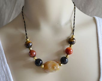 Natural Stone Agate, Tiger Eye & Onyx Necklace, Earth tone Semi-precious Stone Necklace ,Natural Stone Jewelry