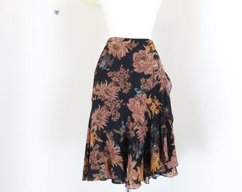 "1990s Skirt - Floral Skirt - Side Ruffle - Flutter Hem - Vintage Ralph Lauren - Boho Summer Spring - Black Brown - Medium 30"" Waist"