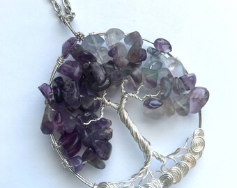 Amethyst Necklace, Amethyst Tree of Life Necklace, Purple Tree Necklace, Amethyst Wire Wrap