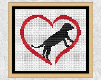 Dog cross stitch pattern, modern dog counted cross stitch, printable chart, heart cross stitch, simple easy silhouette, instant download PDF