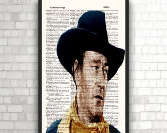 John Wayne- Poster Print- Gift Poster- Antique Book Page- Print on Dictionary-Man Cave Wall Decor