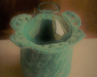 Jade Mixed Felt And Glass Vase With Petal Shaped Edge