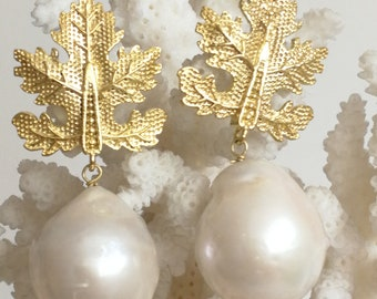 White Baroque pearl earrings and gold plated leaves