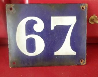 Vintage! Old enamel French house number sign