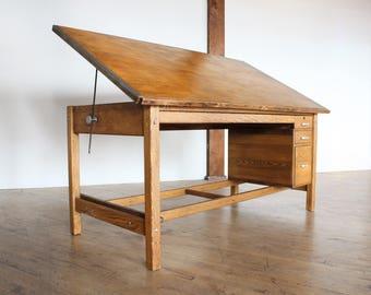 Vintage Drafting Table  Republic Aviation, Oak Desk, Work Table W/ Flat File