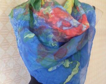 Vintage EU reinbow silk scarf, handmade colored batik scarf, 75 x 75 cm,