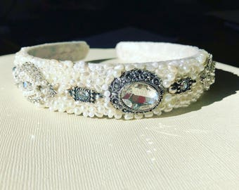 Wedding beaded headband. Adult beaded bridal crown