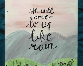 He will come to us like rain acrylic painting canvas decoration dorm friend