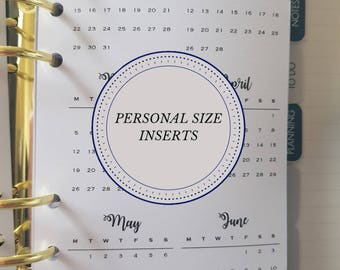 Printed Add On - Year on 2 Page Monthly View Personal Size Planner Inserts  (Filofax, Kikki K, Websters Pages, Erin Concern, Louis Vuitton)