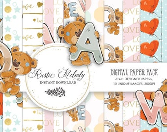 Digital paper,bear paper, craft supplies,cute bear scrapbook,planner supplies,paper pack,paper, watercolour paper,patterns