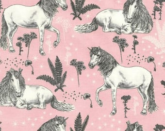Sketched Unicorns by Timeless Treasures, Pink Unicorn Fabric
