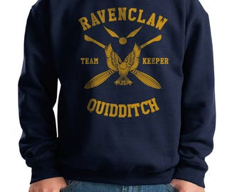 KEEPER - Ravenc Quidditch team Keeper Yellow printed on Youth / Kids Crewneck Sweatshirt