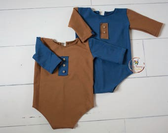 Photography prop sitter size baby boy romper grey brown blue colours