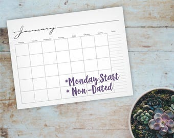 Whimsical Printable Blank Wall Calendar - Monday Start Wall Calendar - A4, Letter size, Family or Office Calendar - Instant Download