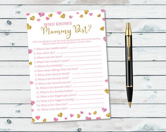 Pink and Gold Baby Shower Game, How Well Do You Know The Mommy To Be Printable, Who Knows Mommy Best Pink And Gold,  Glitter Hearts Confetti