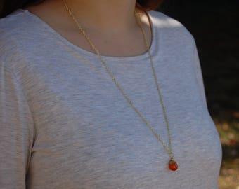 Red Aventurine Genuine Gemstone Pendant Long Layering Necklace
