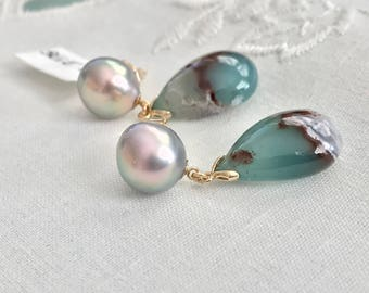 Cultured Sea of Cortez Pearl and Aquaprase Earrings, 14k Yellow Gold (SGE7)