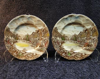 TWO Johnson Brothers Olde English Countryside Bread Plates Set of 2 EXCELLENT