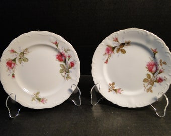 """TWO Fine China of Japan Royal Rose Bread Plates 6 1/4"""" Vintage 50's Set of 2 EXCELLENT!"""