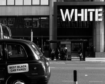 White Print, Black And White Print, Black Taxi Print, Black Cab Print, London Print, Typography Wall Art, Photography, Street Photography