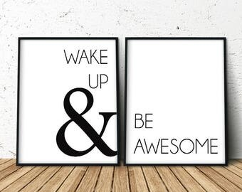 Above Bed Decor, Wake Up Minimalist Poster, Art Above the Bed, Decor Above Bed, Above Bed Wall Art, Above the Bed Prints, Set of 2 Prints