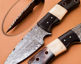 Custom Hand Made Damascus steel fixed blade  Hunting Knife With Real Leather Sheath