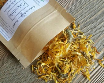 Organic Calendula Flowers, Fresh Dried Calendula, Organic Dried Bath Flowers, Organic Dried Herbs, Organic Pot Marigold, Loose Leaf Tea