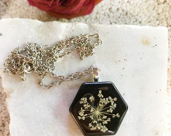 White Queen Anne's lace boho hippy hexagon flower resin pendant necklace