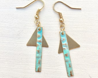 Turquoise metal bar and triangle earrings