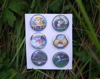 "Super Smash Bros Melee Sheik Pack - 6 button set - 1"" video game badges pins enamel pinbacks SSBM"