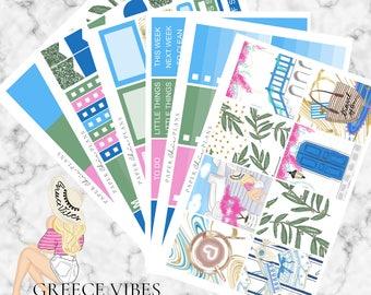 Greece Vibes | Planner Stickers MATTE | Erin Condren Vertical Weekly Planner Kit