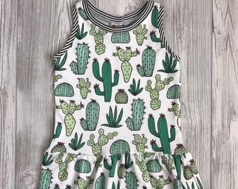 Little Kid Organic Cotton Girls Dress - cactus/black & white stripe