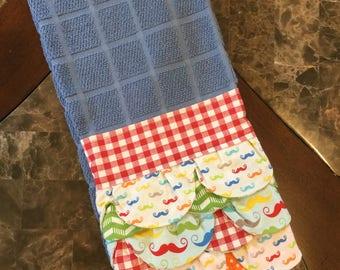 Blue Kitchen Ruffled Tea Towel, Blue Kitchen Towel, Mustache Kitchen Towel