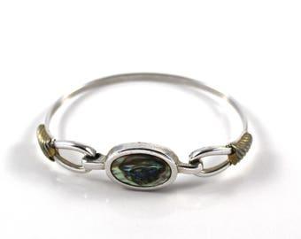 Avon Abalone Disc Bangle Bracelet