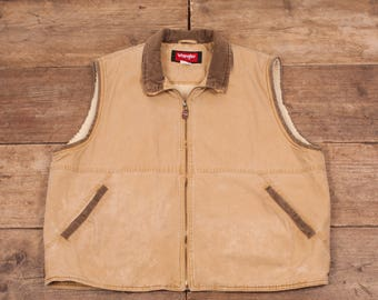 """Mens Vintage Wrangler Beige Fur Lined Cotton Western Vest XL 48"""" R6616"""