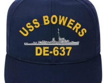 USS BOWERS DE-637 Ball Cap  New Item