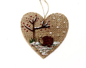 Hedgehog Christmas decoration, Christmas Plaque, Tree Decoration, Wooden hanging heart, Home decor, woodland scene, handmade rustic heart.