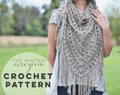 Triangle Scarf Crochet Pattern | The Traverse Cowl + Shawl Crochet Pattern | Crochet Pattern. Crochet Cowl Pattern.  DIY Cowl Pattern.
