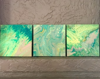 Set of 3 Marbled Absrtract Lime Mint Taupe Paintings