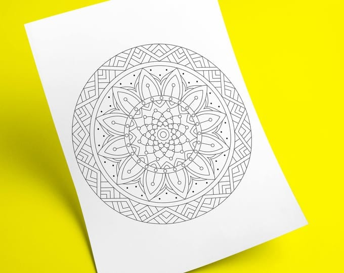 Printable Instant Download Digital Adults Mandala Coloring Page PDF, Hand Drawn Beautiful Mandala Flower And Circles, Relaxing Art Therapy