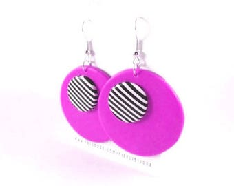 Black and white stripes and pink earrings