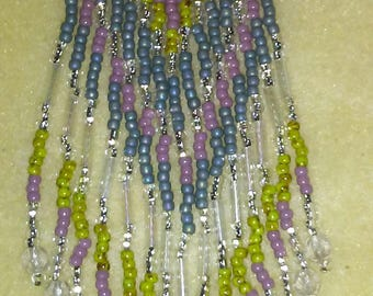 Long hand beaded earrings with fringe and crystals